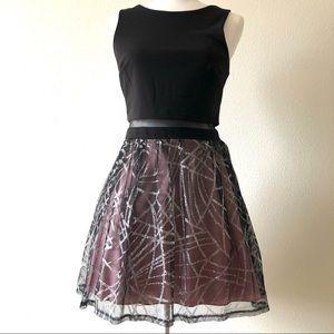 City Studio Junior Black & Net Sleeveless Dress